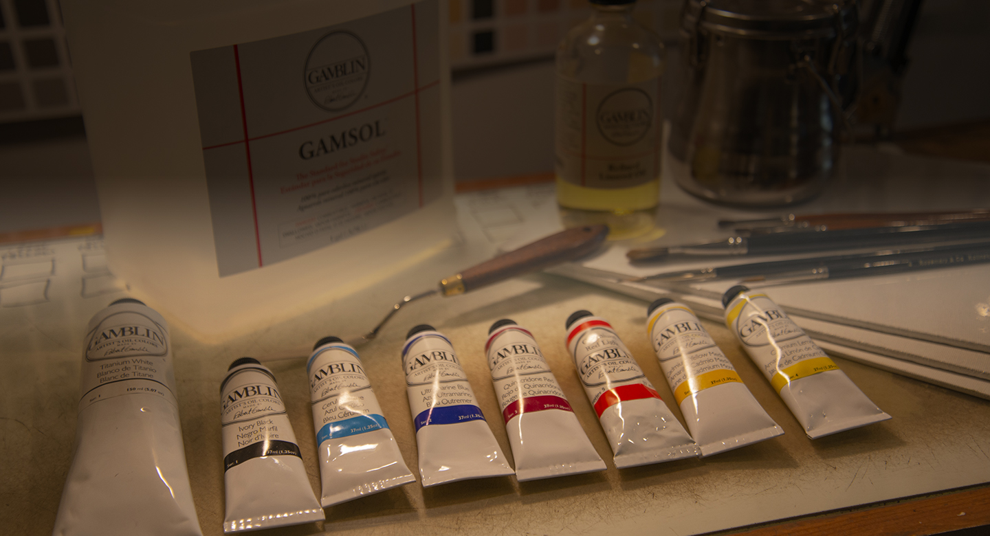 Basic oil painting materials needed for RL Caldwell Studios painting courses
