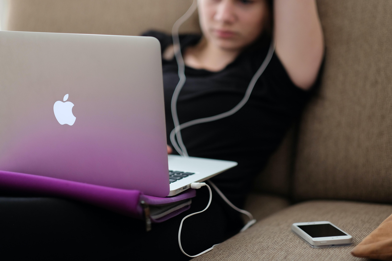 woman watching videos