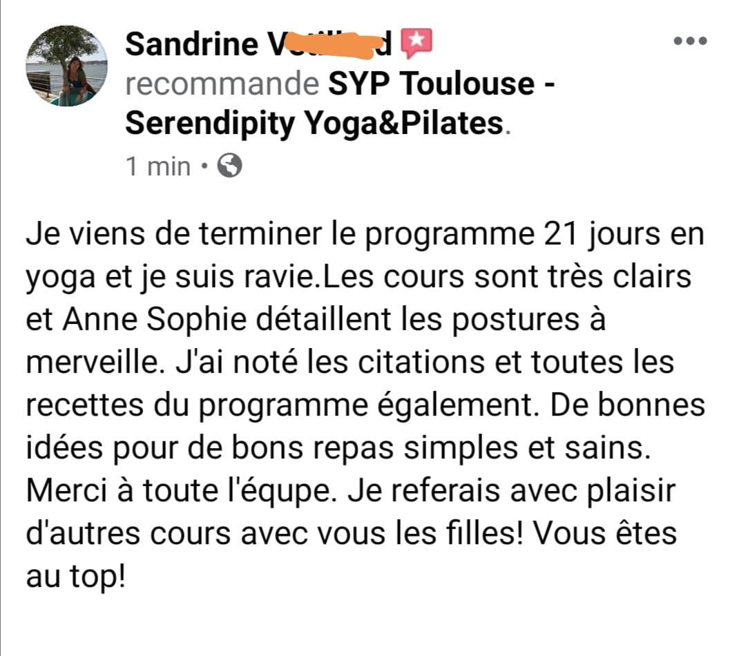avis yoga programme